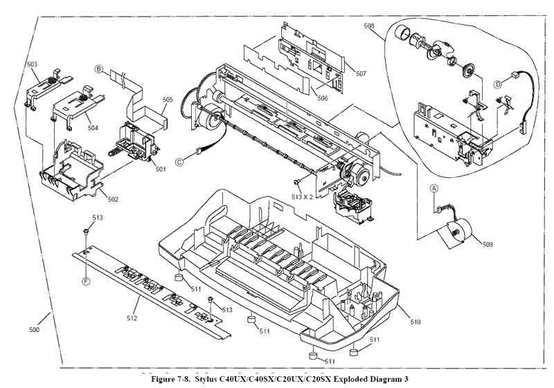 Детальная схема принтера c20